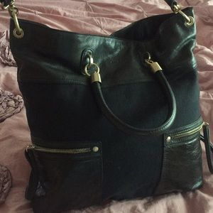 Tahari leather and canvas large bag